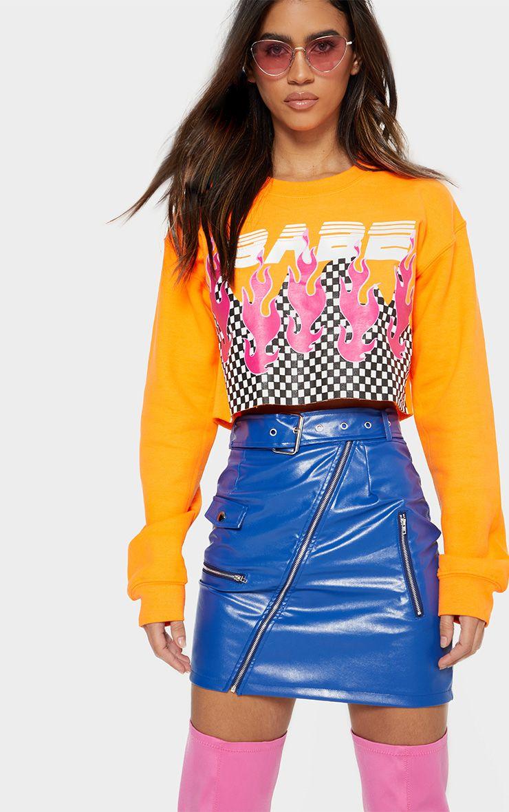 Cobalt Biker Belted Mini Skirt
