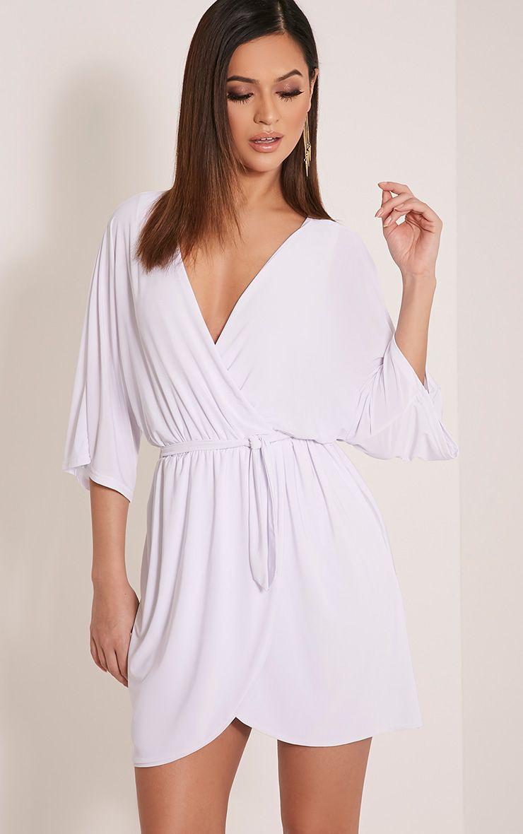 Martie White Wrap Front Kimono Sleeve Mini Dress