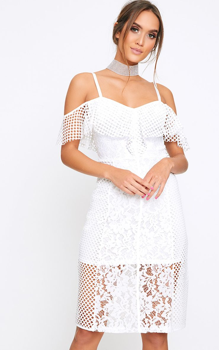 Yezmin White Lace Bardot Midi Swing Dress
