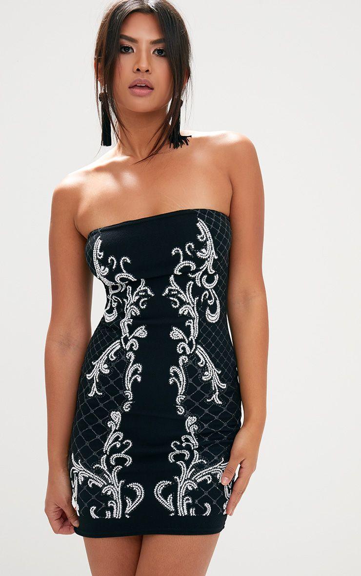 Black Glitter Caviar Bandeau Bodycon Dress