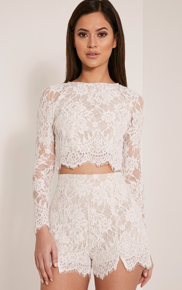 Ellena White Lace Shorts