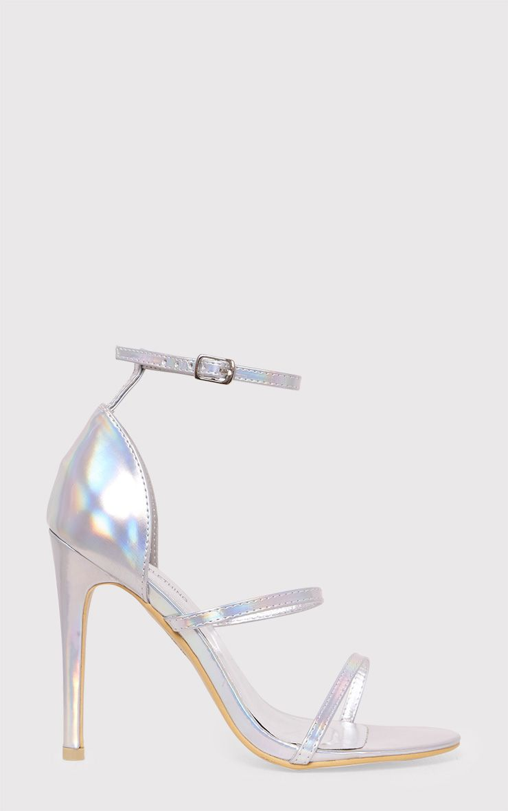 Amelia Silver Holographic Strappy Heeled Sandals