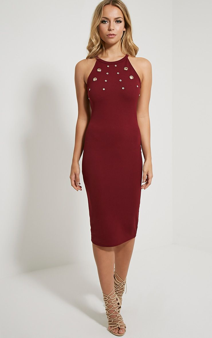 Kami Burgundy Eyelet Racerback Midi Dress 1