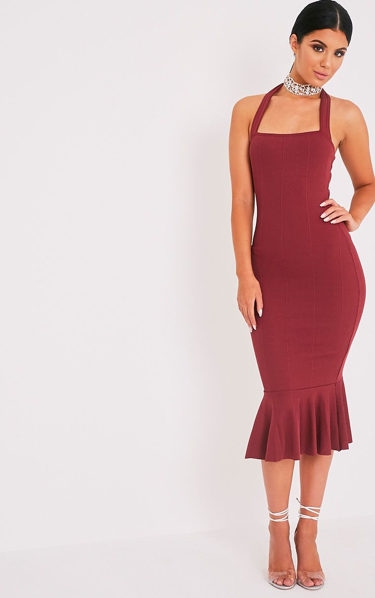Meelah Wine Bandage Halterneck Midi Dress