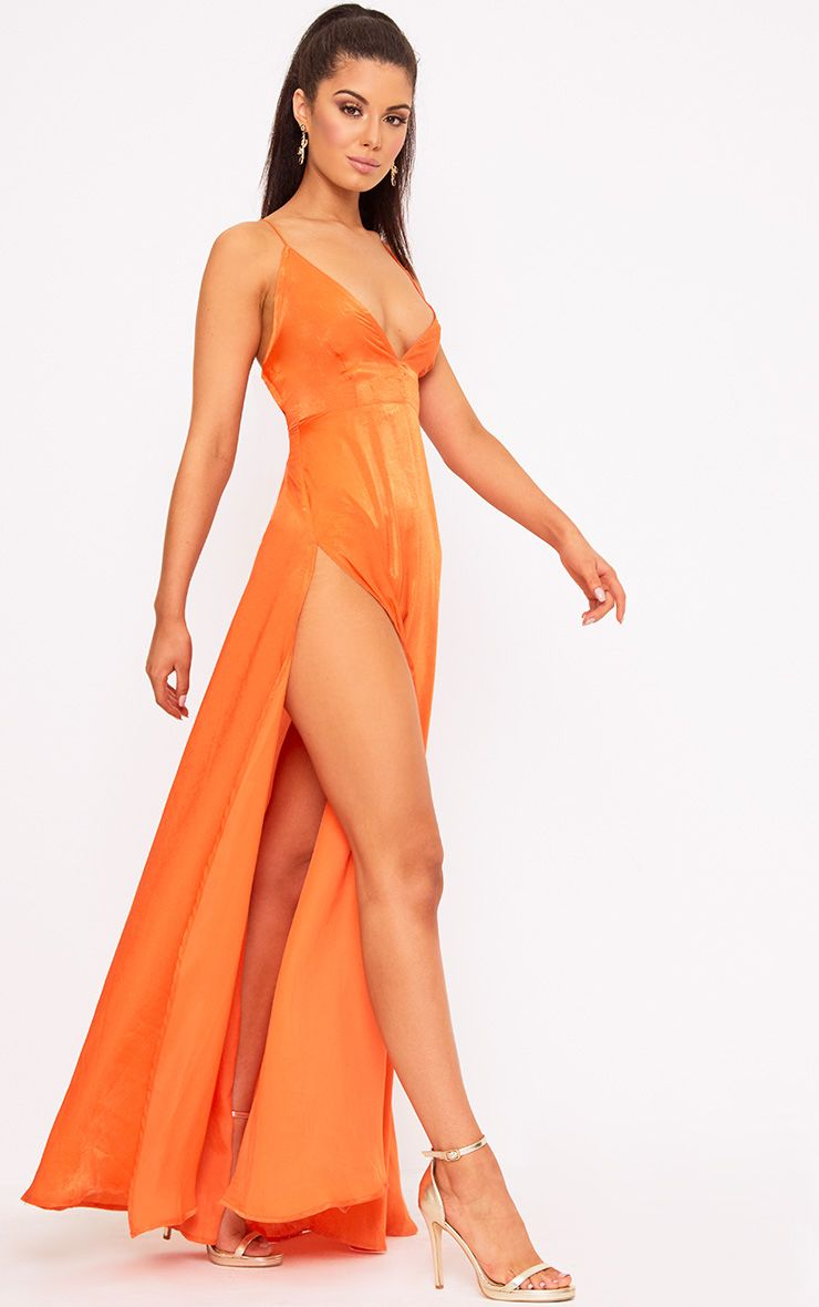 Beccie Bright Orange Extreme Split Strappy Back Maxi Dress