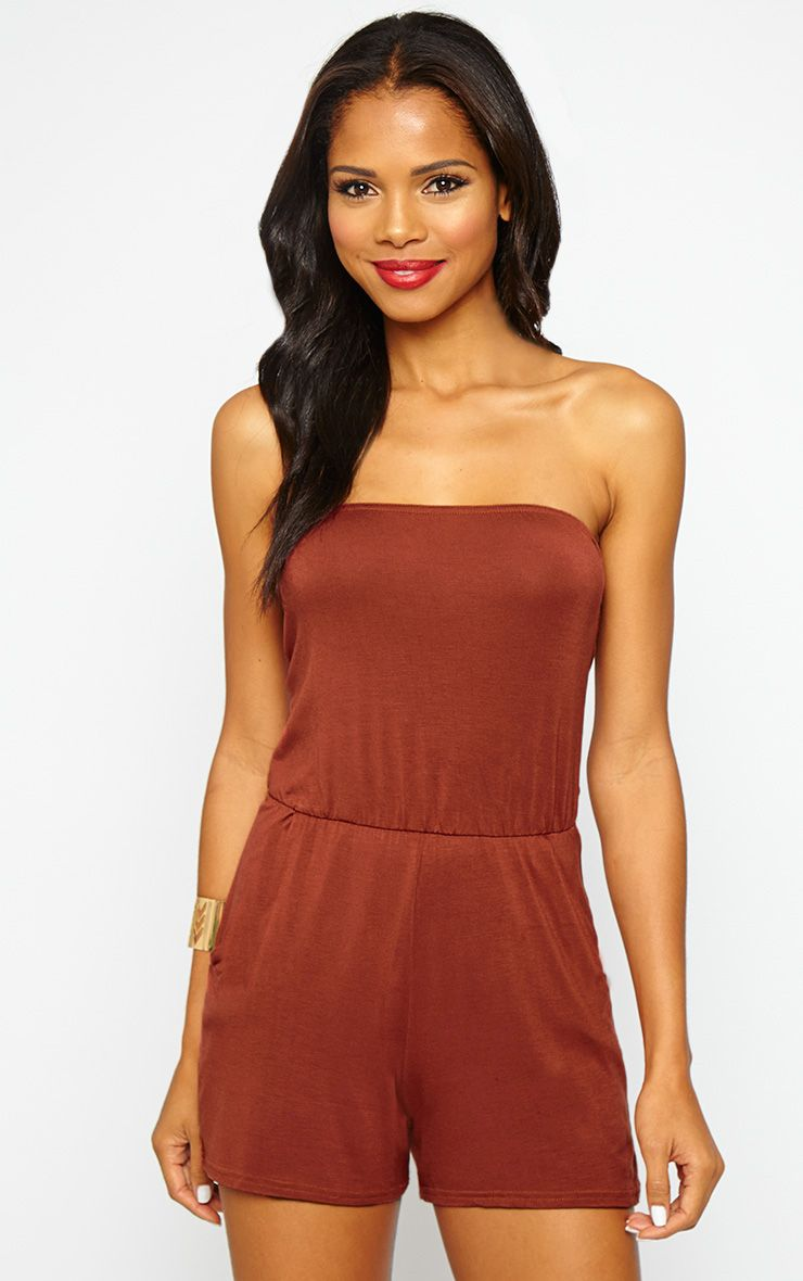 Sharley Rust Bandeau Jersey Playsuit 1