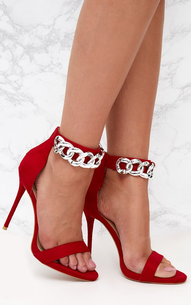 Red Faux Suede Chain Strap Heels