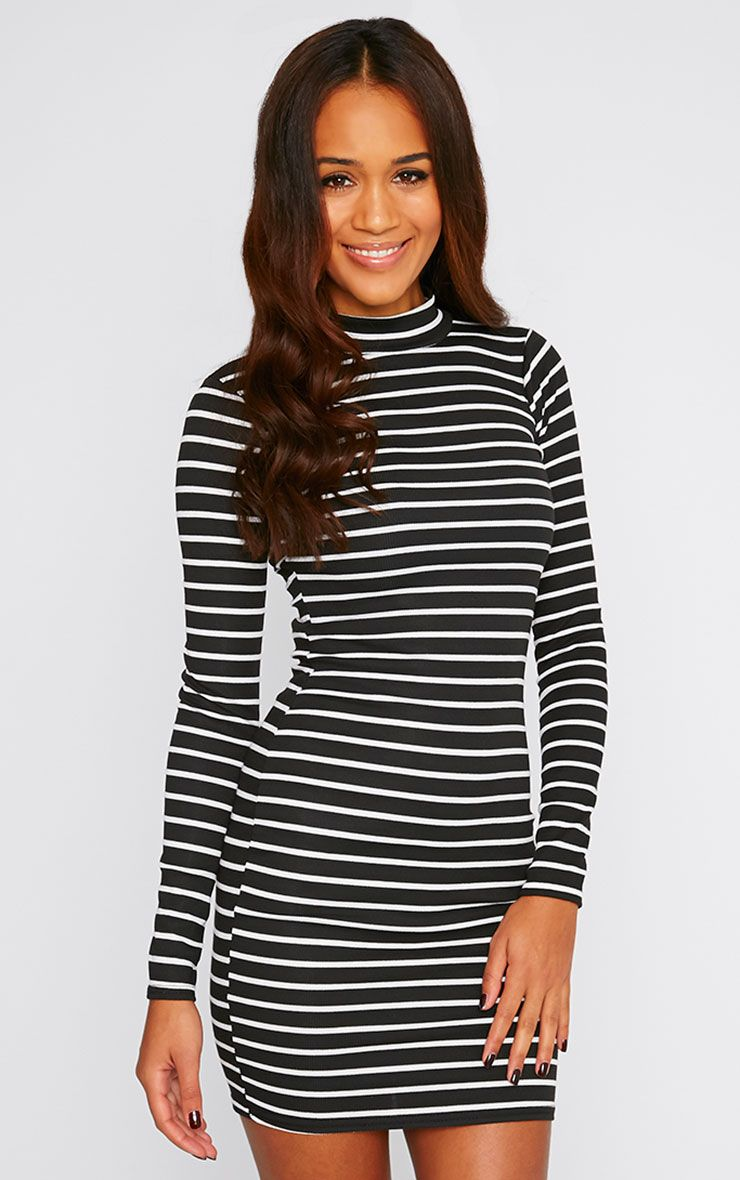 Essie Monochrome Stripe Turtle Neck Long Sleeve Dress 1