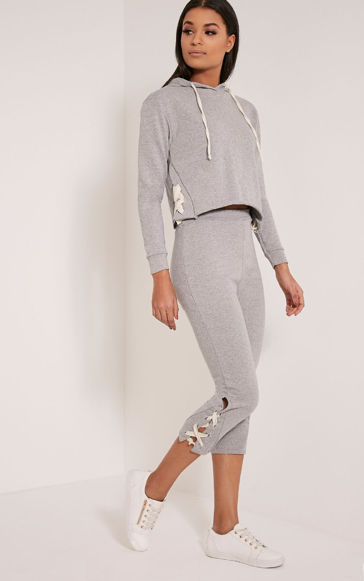 Pia Grey Lace Up Side Cropped Joggers 1