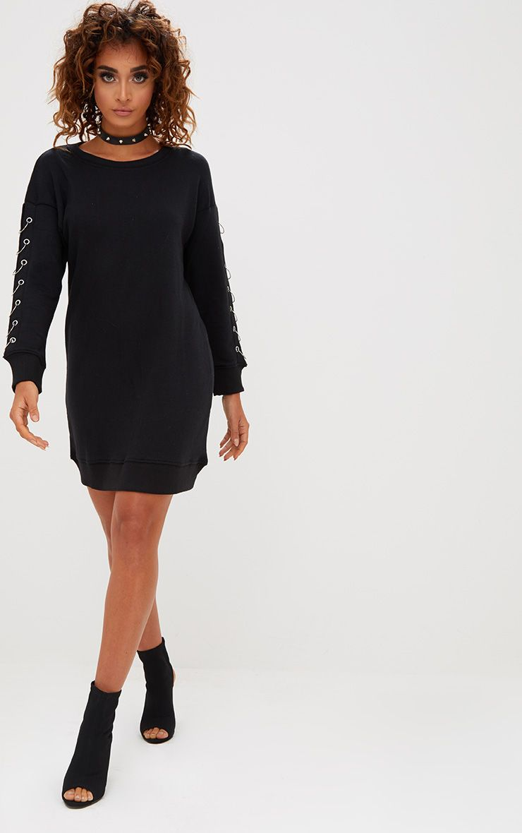 Black Ring Detail Jumper Dress