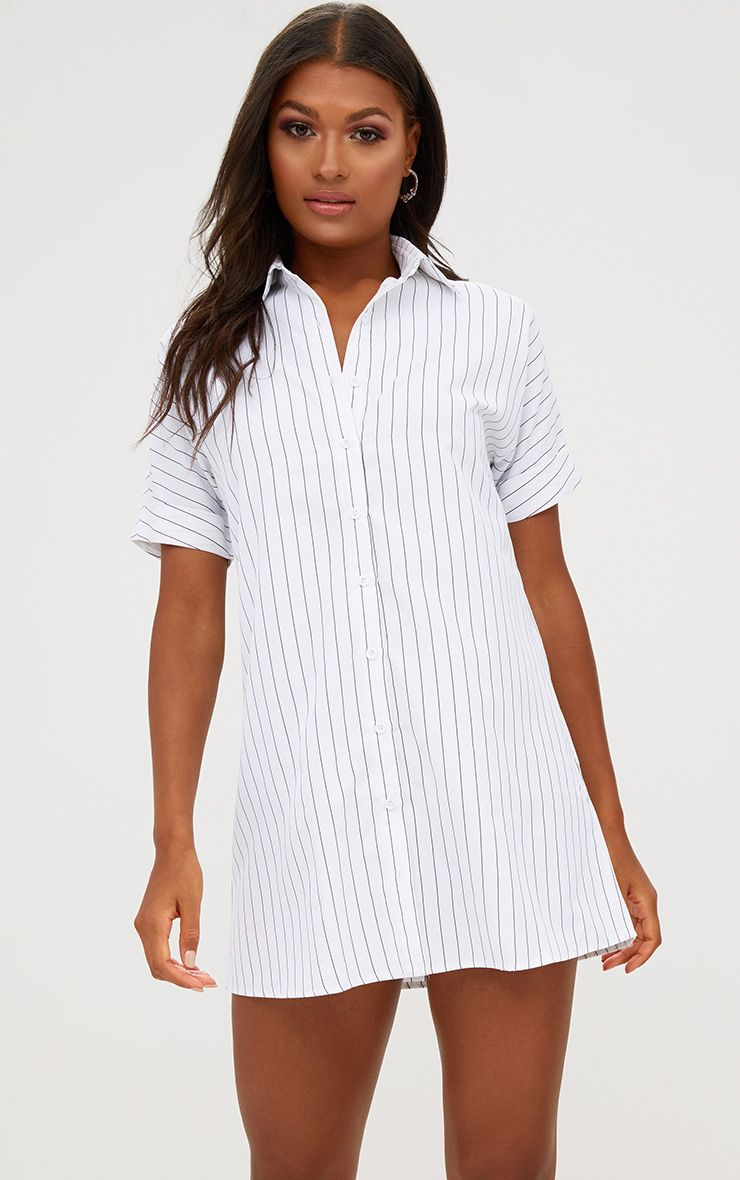 White Striped Short Sleeve Shirt Dress