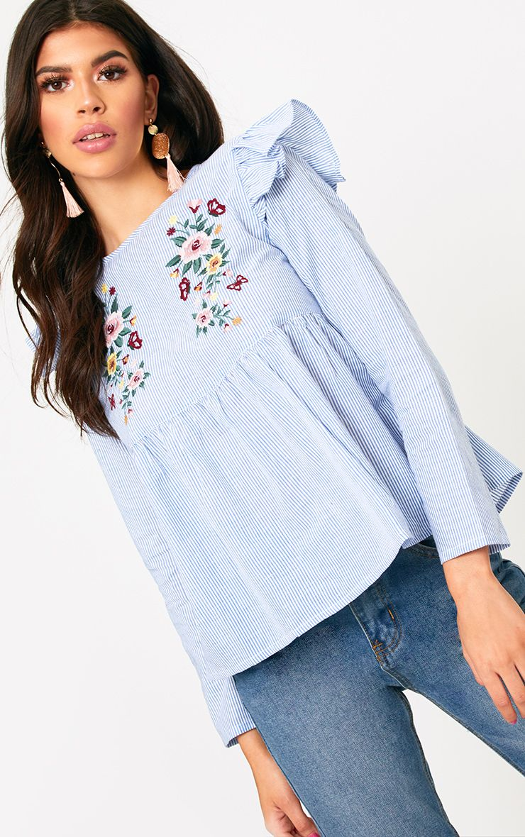 Blue Embroidered Frill Shoulder Shirt