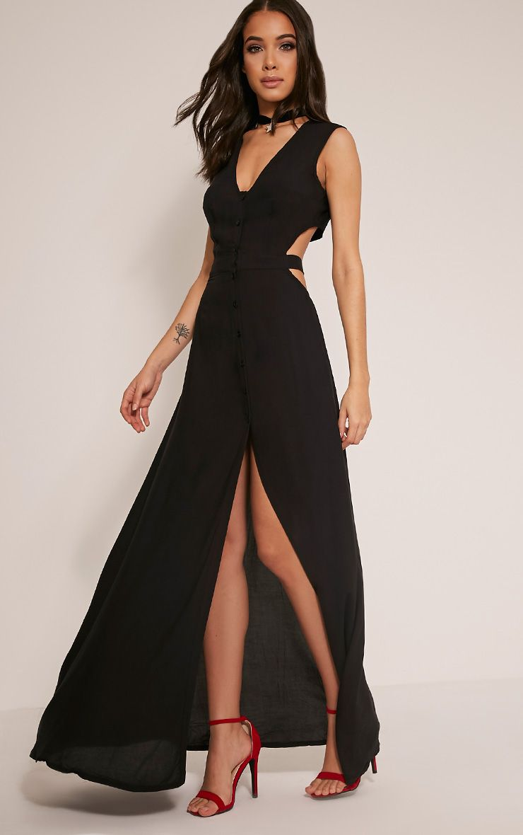 Harlie Black Tie Back Button Down Maxi Dress