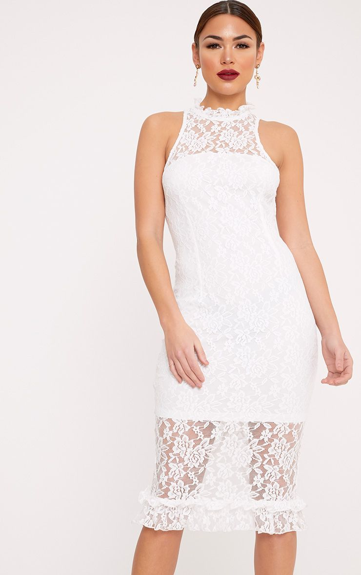 Helen White Lace Frill Neck Midi Dress