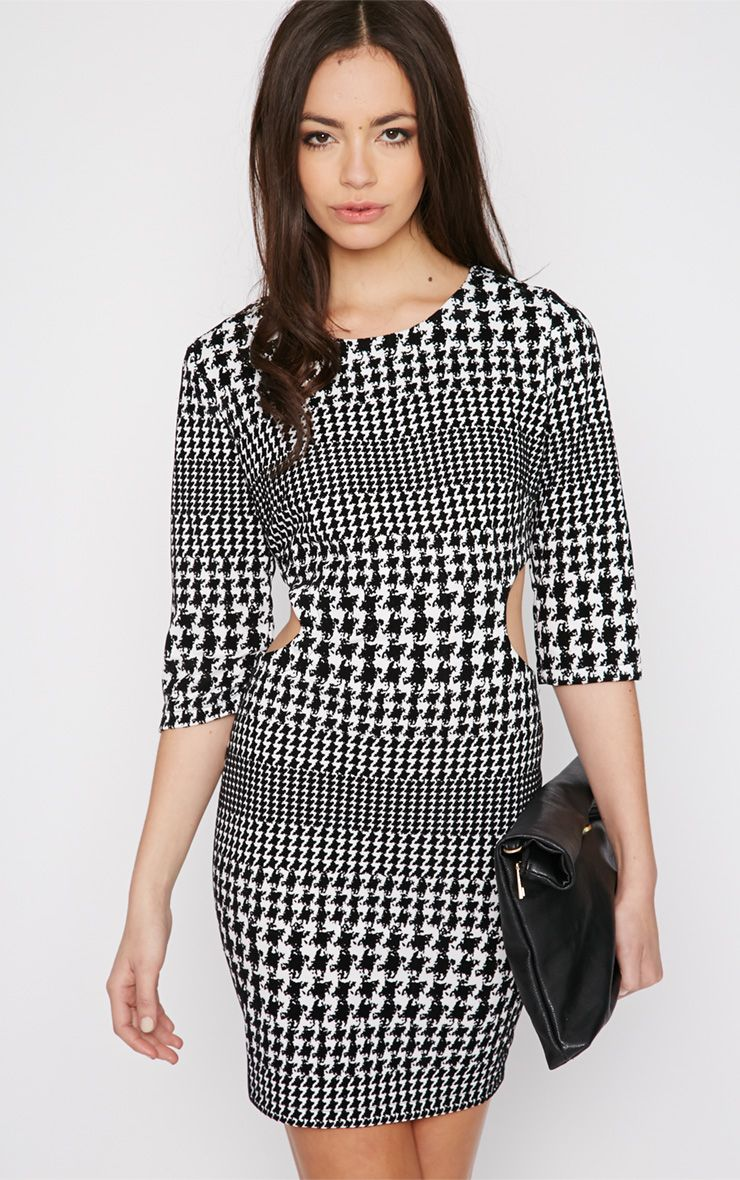 Eden Monochrome Dogtooth Cut Out Velvet Dress 1