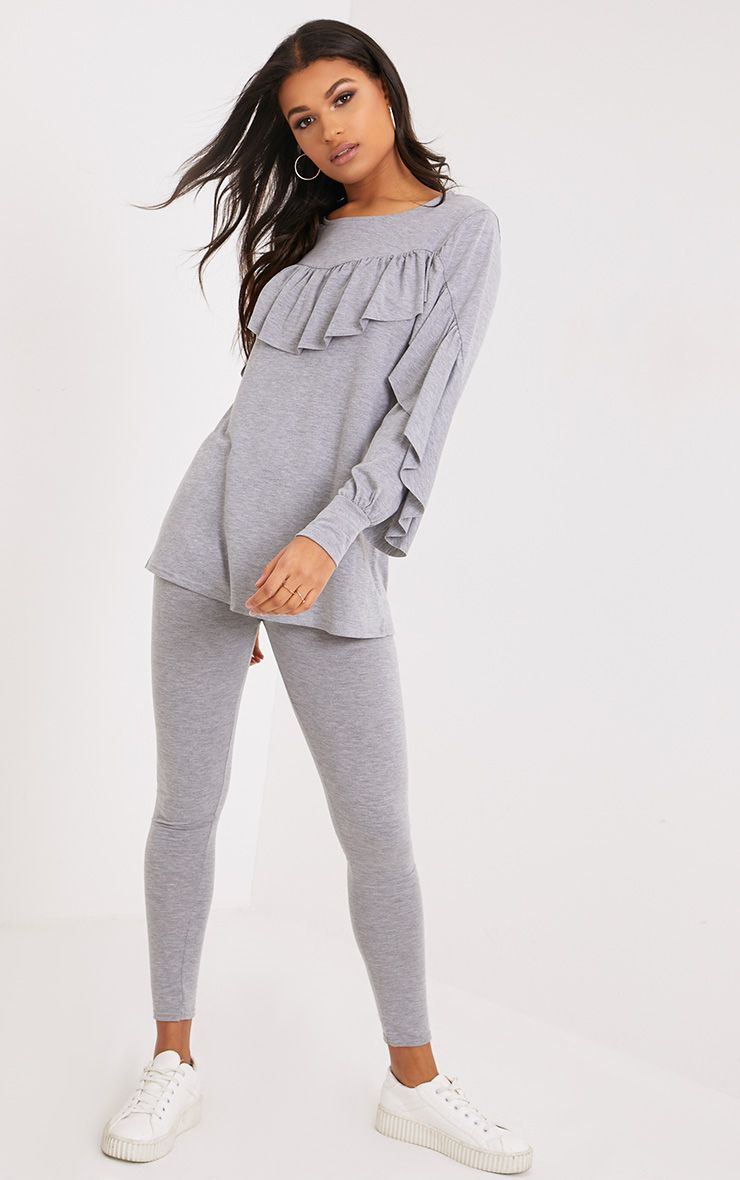 Dara Grey Ruffle Sleeve Top & Leggings Set