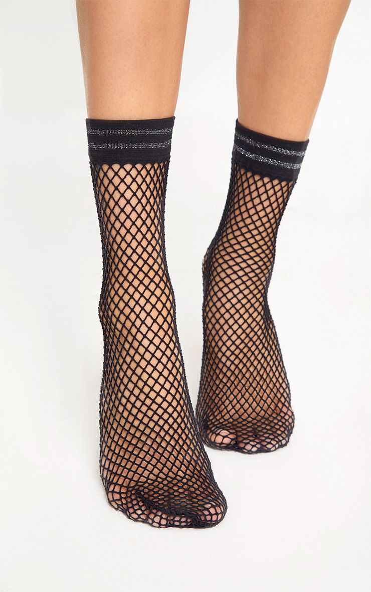 Black Metallic Sports Trim Fishnet Socks