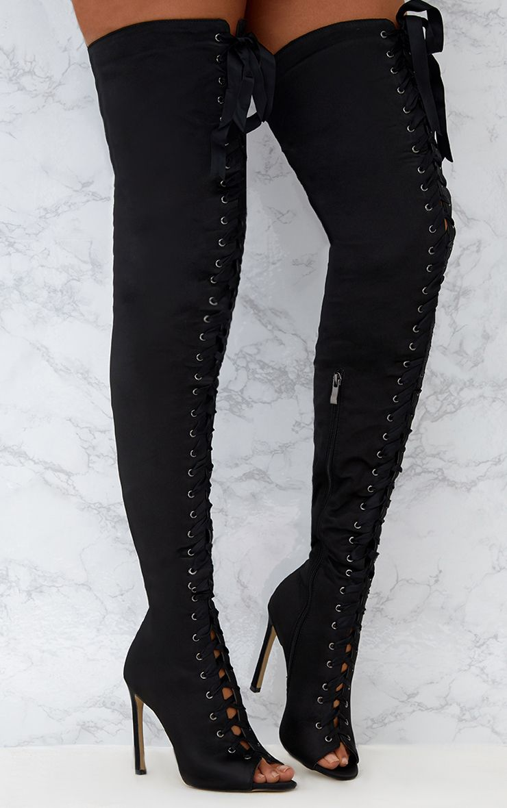 Black Satin Thigh High Lace Up Heeled Boots