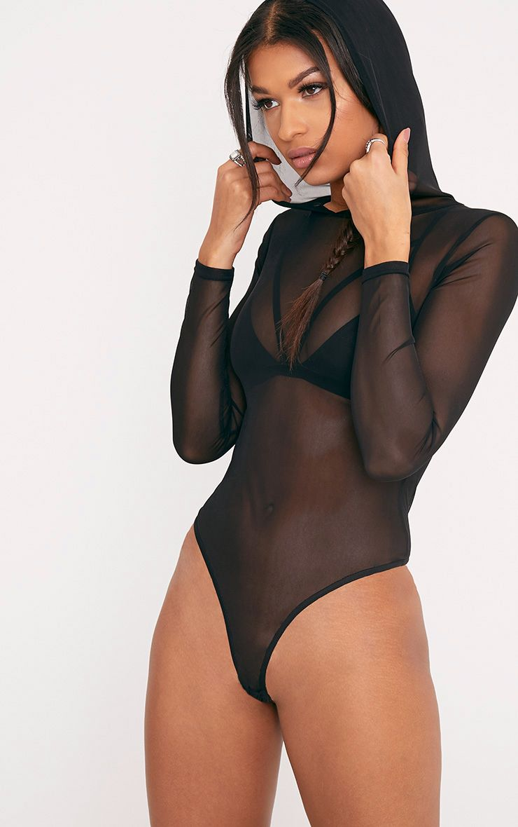 Lidya Black Mesh Hooded Thong Bodysuit
