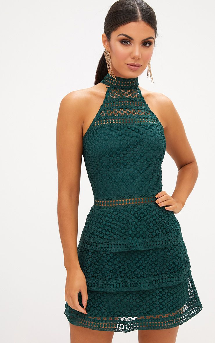Emerald Green Lace Panel Tiered Bodycon Dress