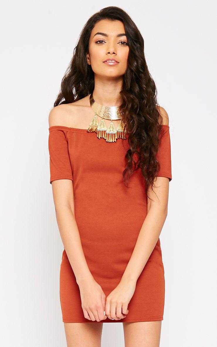 Tobiah Rust Bardot Bodycon Dress 1