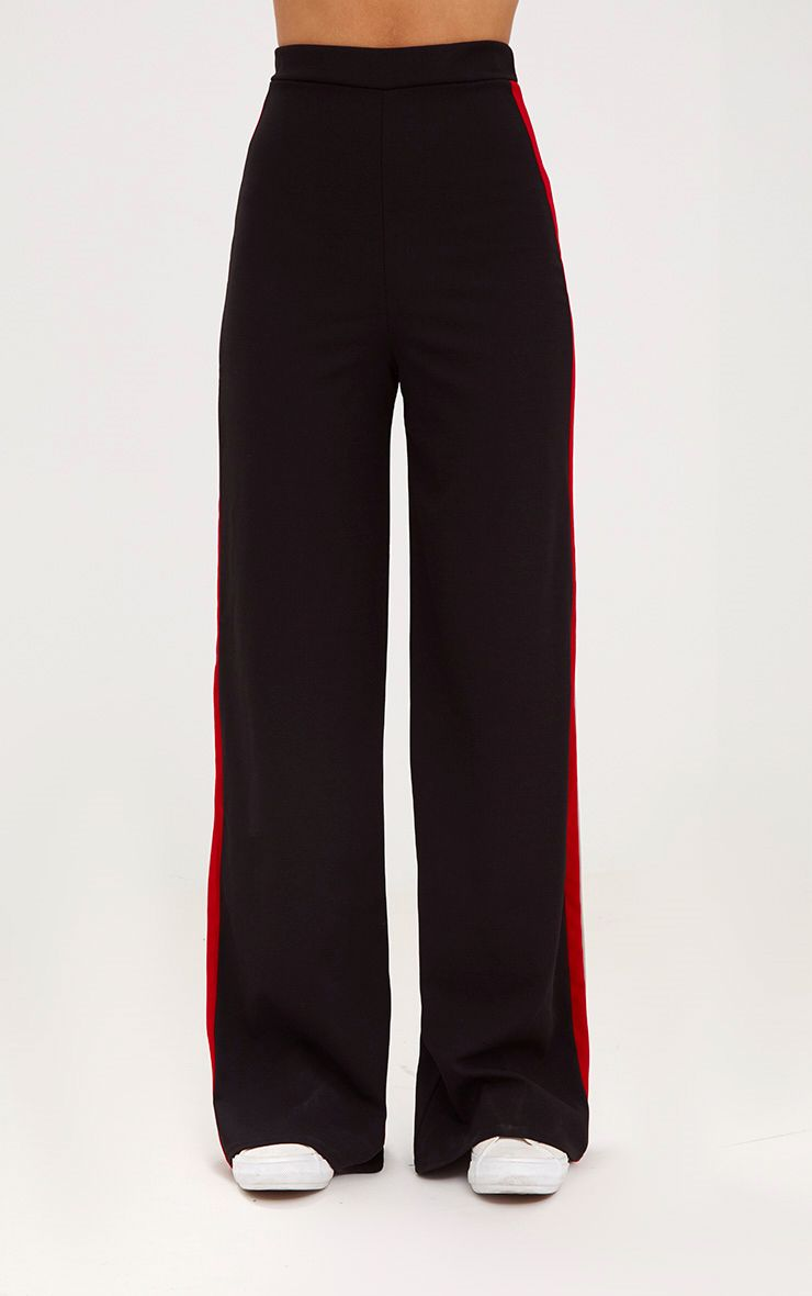 Black Sport Side Stripe Wide Leg Trousers 2