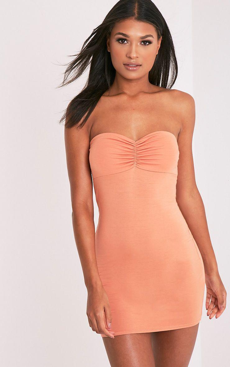 Leanna Deep Peach Jersey Bandeau Bodycon Dress 1