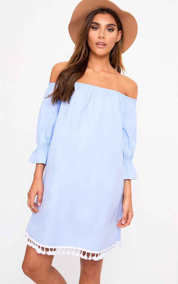 Blue Pom Pom Bardot Shift Dress 1