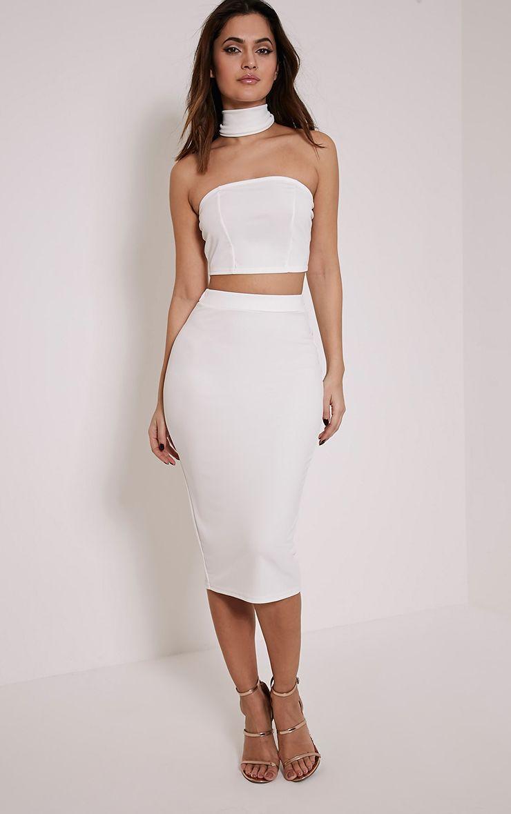 Lacy Cream Crepe Midi Skirt 1