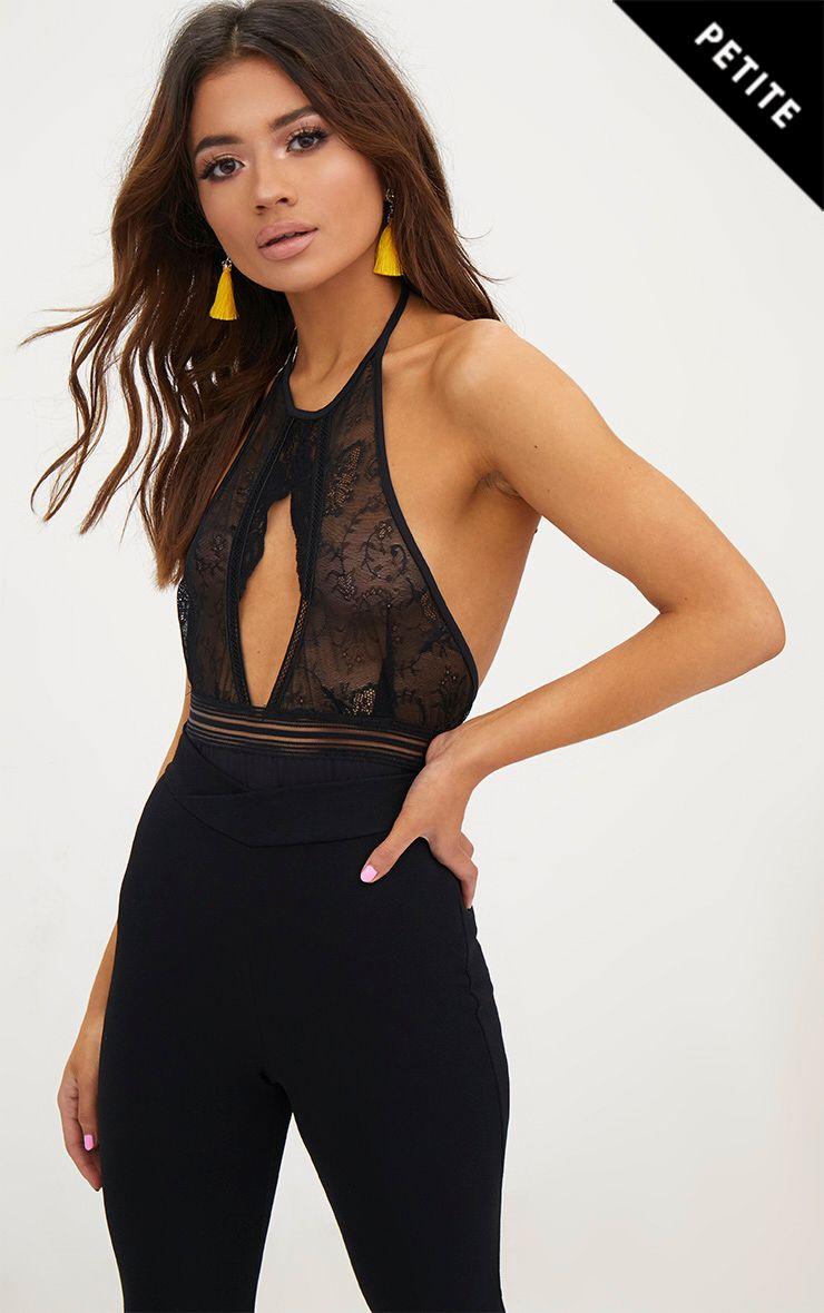 Petite Black Lace High Neck Bodysuit 1