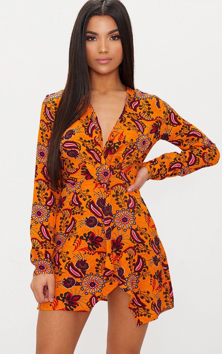 Mustard Floral Long Sleeve Wrap Dress
