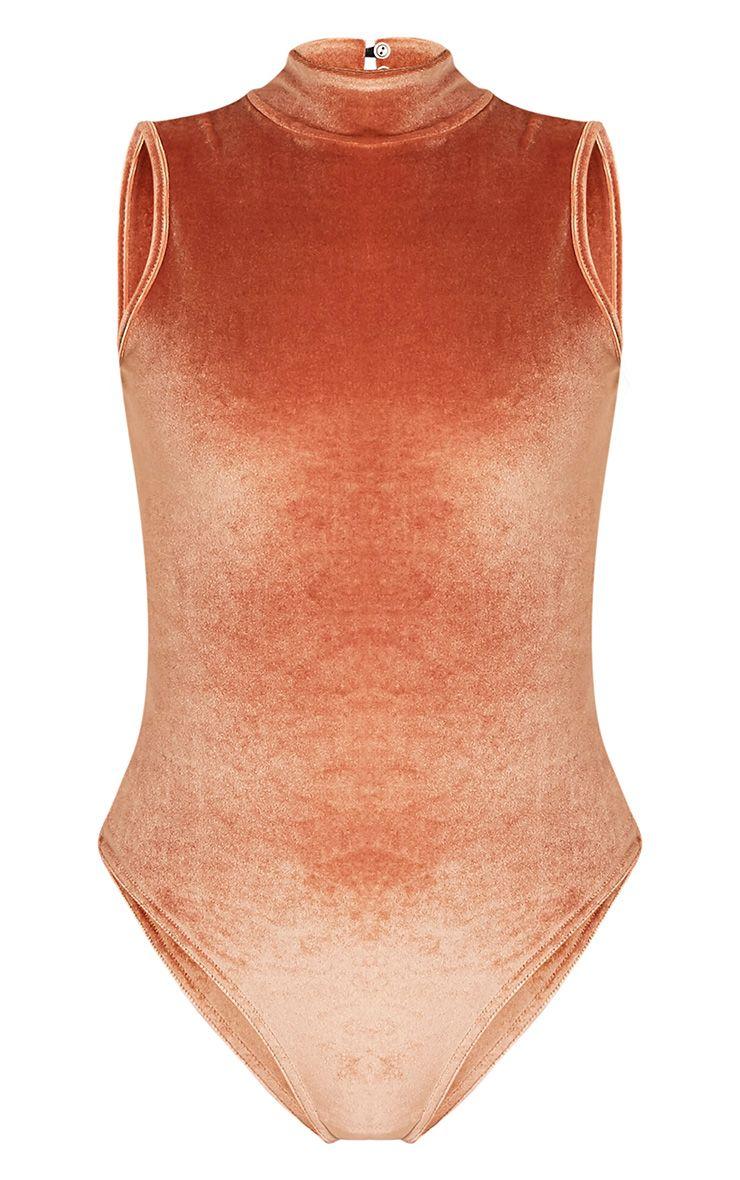 Charlyn body-string à col montant en velours orange rouille 3