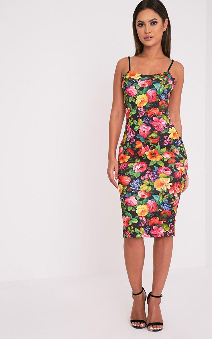 Dinah Black Floral Strappy Midi Dress