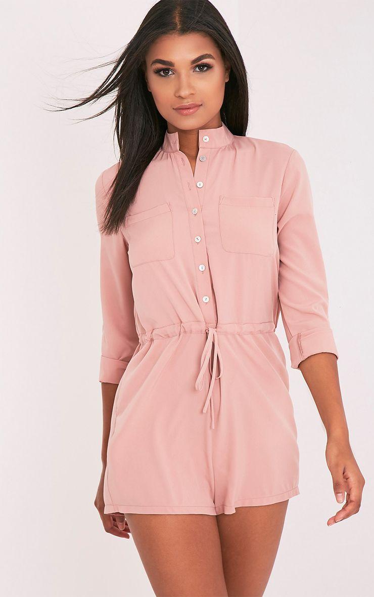 Alarna Dusty Pink Round Collar Shirt Playsuit 1