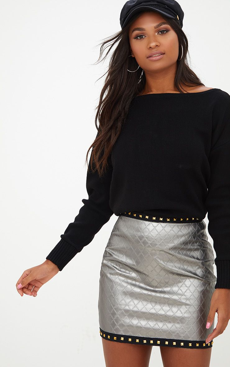 Gunmetal Faux Leather Quilted Stud Trim Mini Skirt