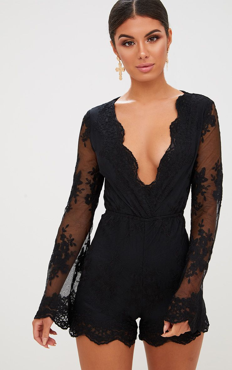 Bella Black Lace Bell Sleeve Playsuit