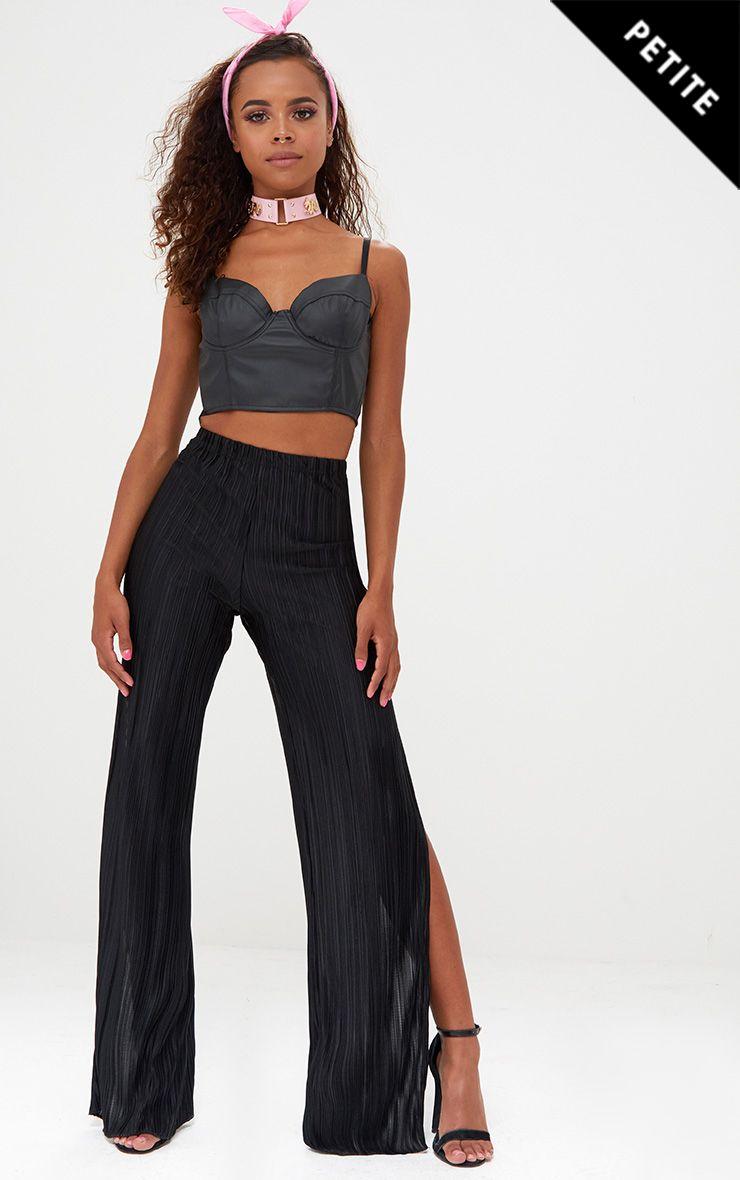 Petite Black Pleated Split Wide Leg Trousers