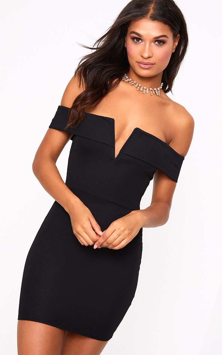 Black Bardot V Plunge Bodycon Dress