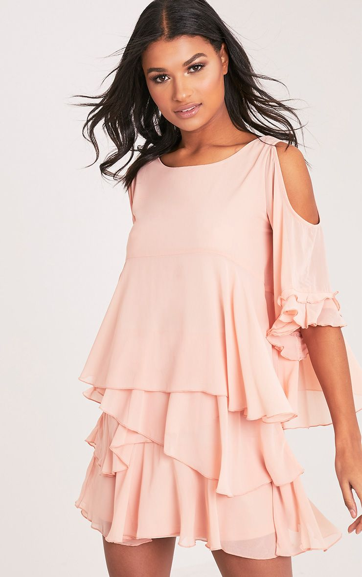 Tessa Blush Cold Shoulder Ruffle Swing Dress