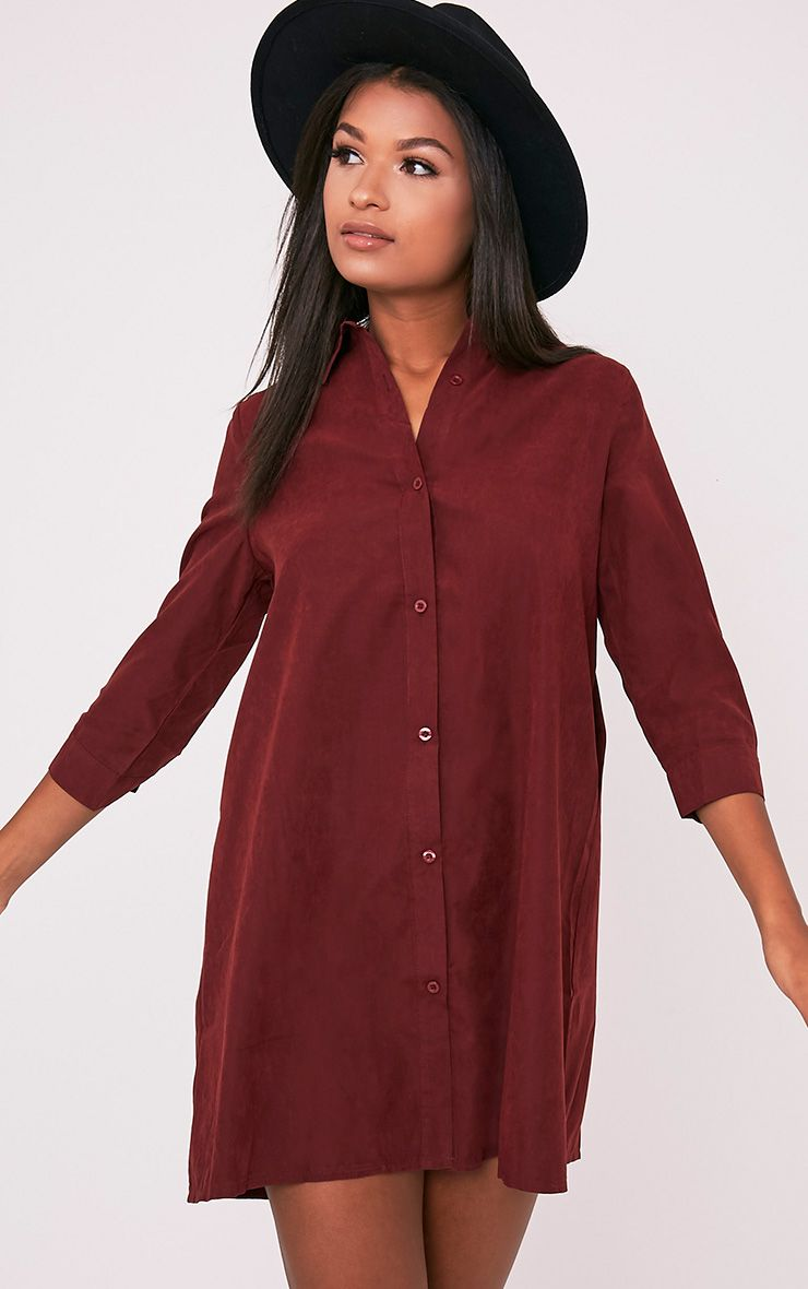 Leni Burgundy Shirt Dress