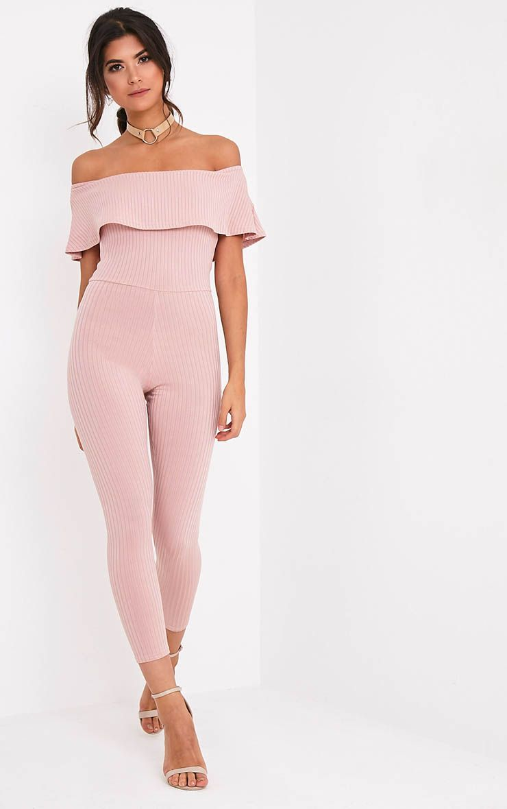 Nancy Nude Bardot Ribbed Jumpsuit