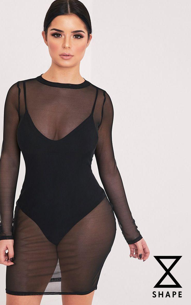 Shape Lauriella Black Mesh Mini Dress
