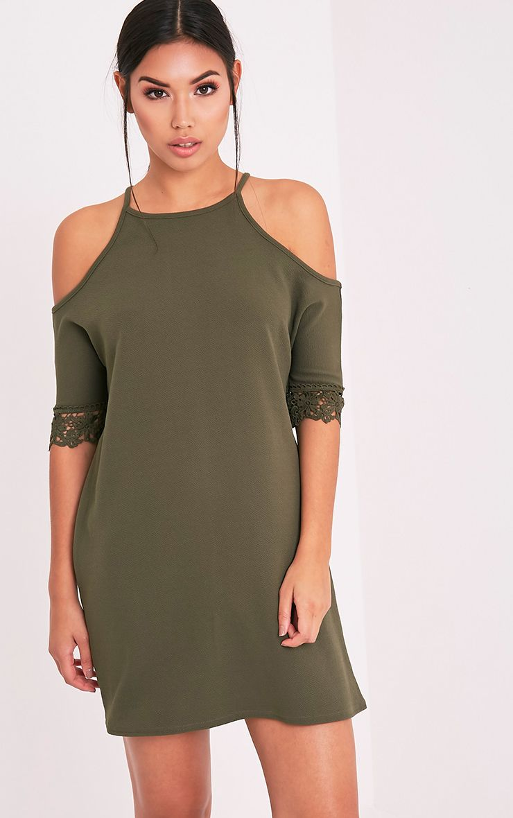 Christie Khaki Lace Trim Cold Shoulder Dress