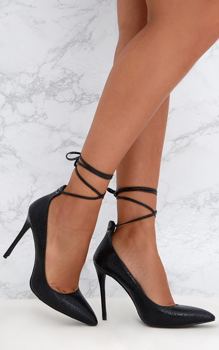 Black Faux Snake Skin Lace Up Pointed Heels