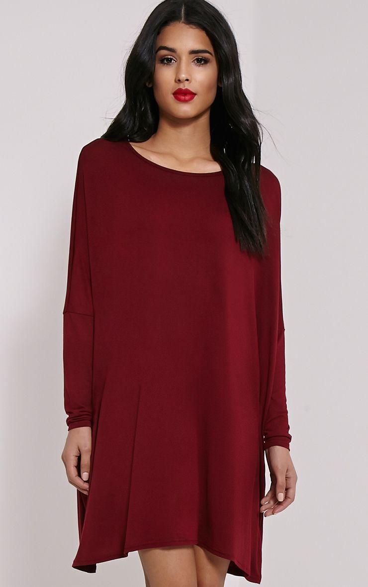 Basic Burgundy Long Sleeve Jersey Dress 1