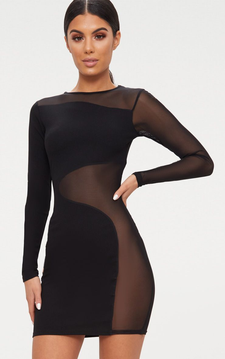Black Mesh Panel Long Sleeve Bodycon Dress