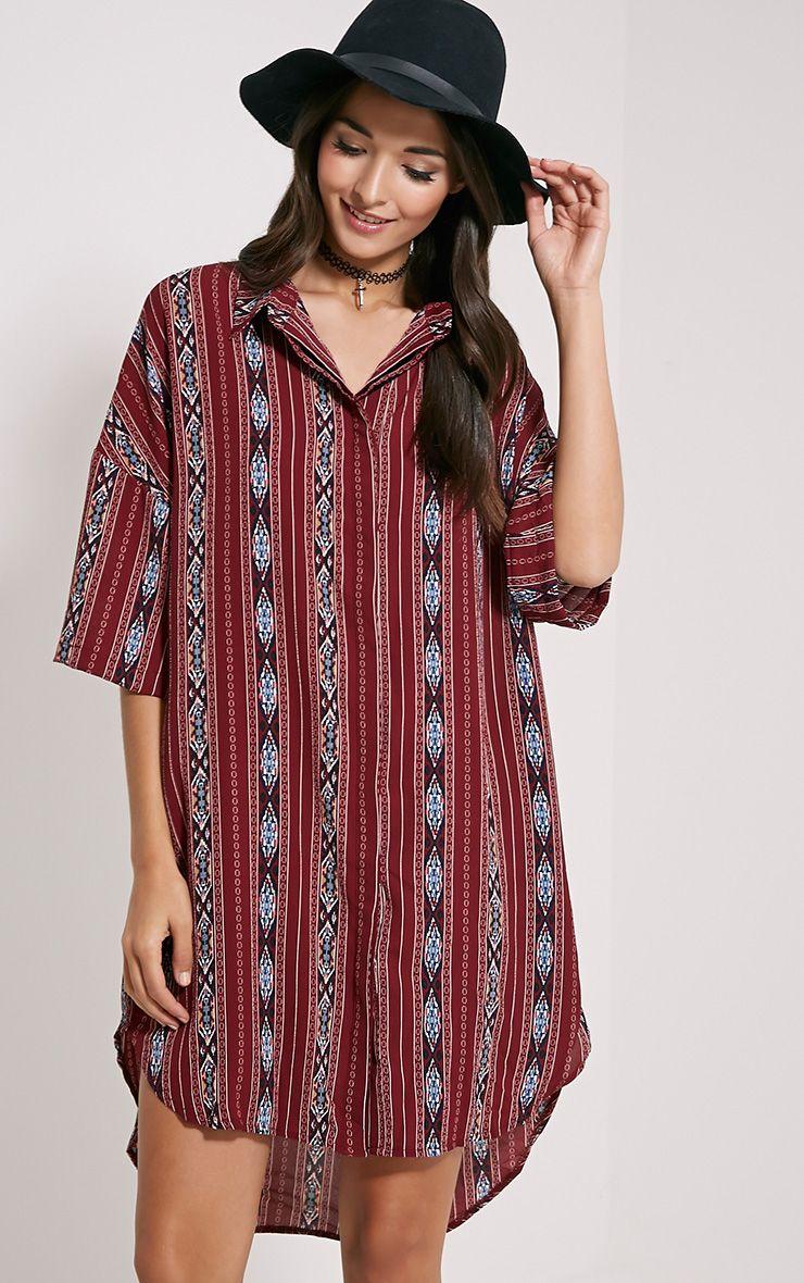 Asha Burgundy Aztec Print Shirt Dress 1