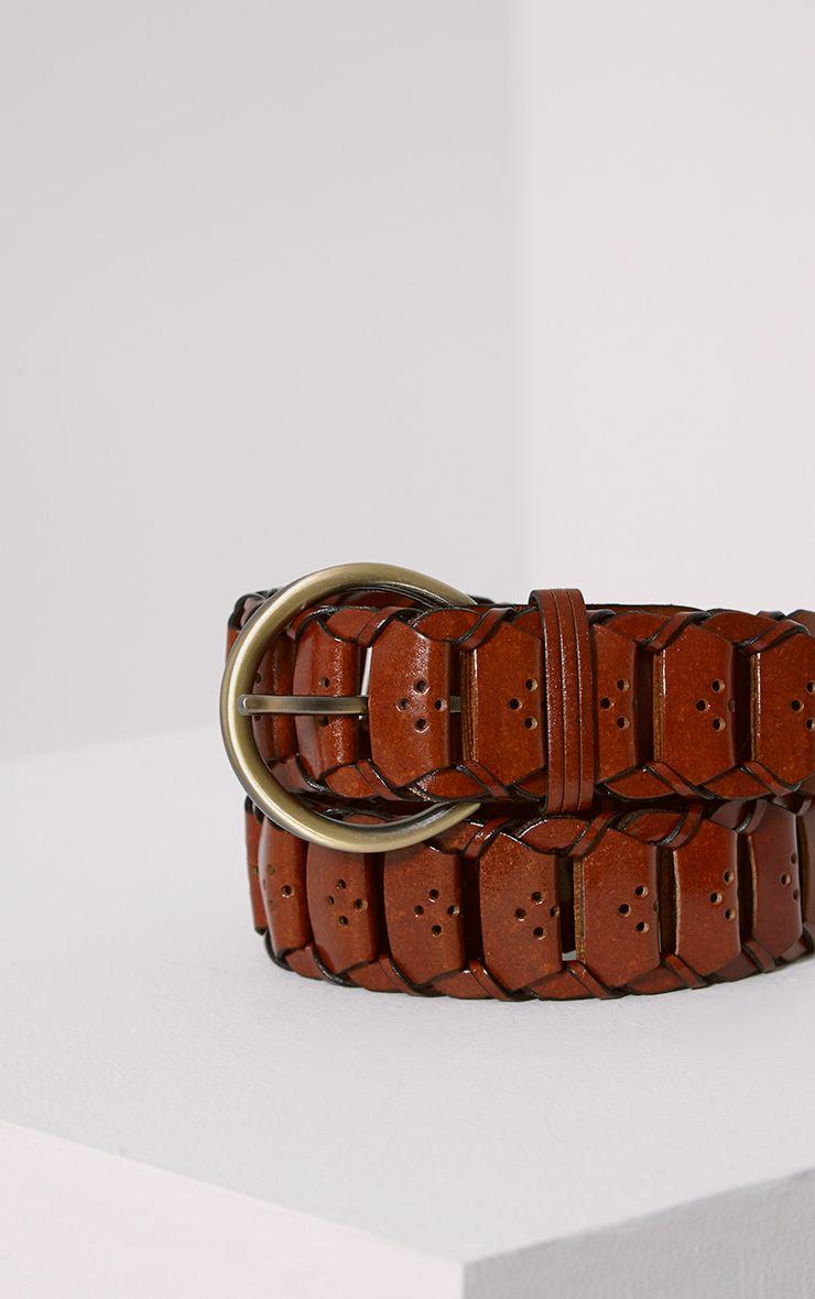 Renata Rust Leather Link Belt 1