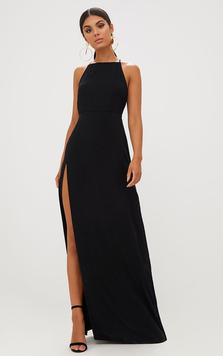 Black Strappy Back Detail Chiffon Maxi Dress