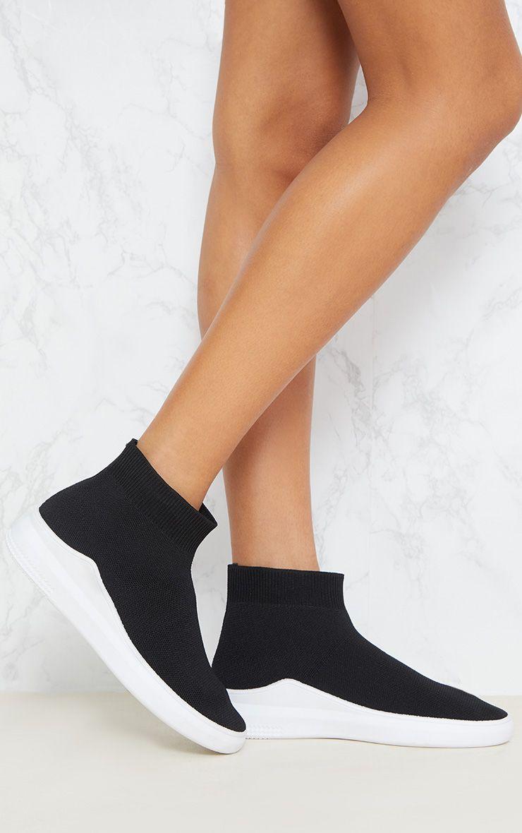 Black Knitted Sock Trainer